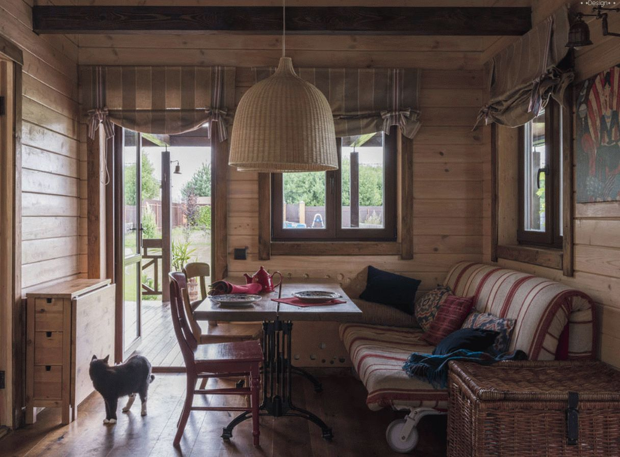 Interior design of a wooden house