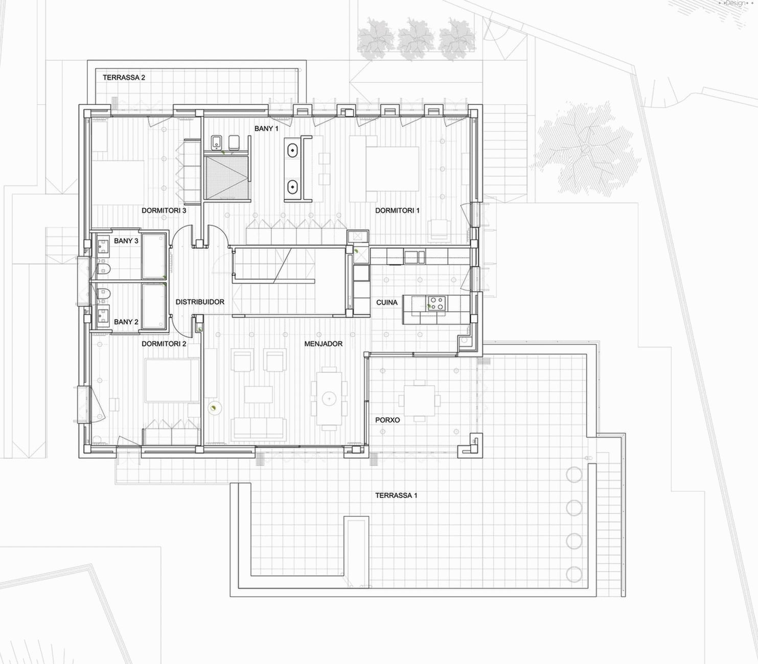 layout of a two-story house
