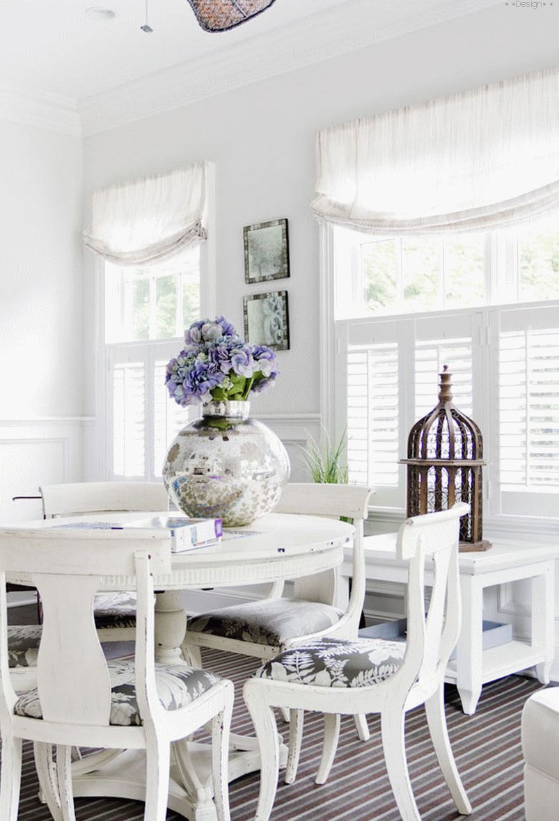 white furniture in the kitchen