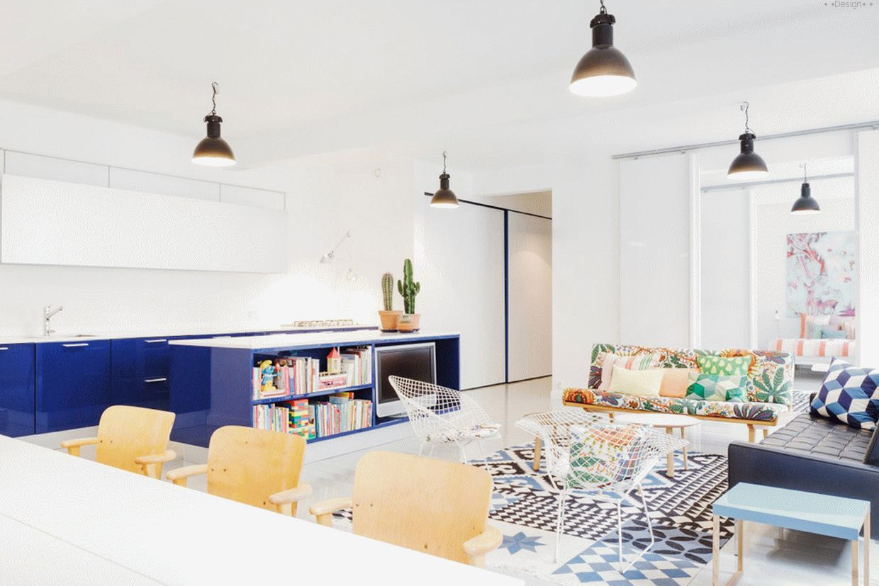 Snow-white apartment with bright spots
